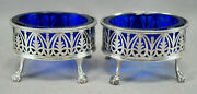 Robert Hennell I London Neoclassical Sterling Silver And Cobalt Glass Salts C.1775