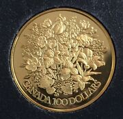 1977 Canada 1/2 Oz Proof Gold 100 Jubilee Flowers Coin