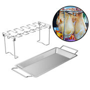 Chicken Leg And Wing Rack Grill Stand Roasting Bbq Grill With Drip Pan Party