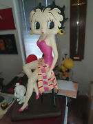 Extremely Rare Betty Boop With Pudgy Sitting In The Kitchen Big Figurine Statue
