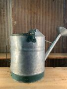 Vintage Galvanized Watering Can, 1 Gal. Sprinkling Water Can, Green Strap