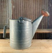Vintage Galvanized Watering Can, 1 Gal. Sprinkling Water Can, Red Cap