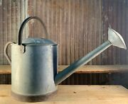 Vintage Galvanized Watering Can, 1 Gal. Sprinkling Water Can, Long Spout