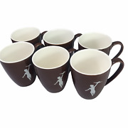 Storyville Coffee Hot Chocolate Mug Cup Brown With White Airplane Logo. Set Of 6