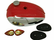 Fit For- Bsa A65 Thunderbird Lightning Chrome And Red Gas Fuel Petrol Tank Andextras
