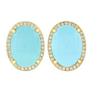 18k Gold Oval Cabochon Turquoise 1.26ct Pave Diamond Halo Large Button Earrings