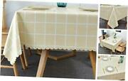 Oblong Vinyl Tablecloth With Flannel Backing Vynle Plastic 60x84 Inch Khaki