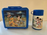 Vintage1989 Aladdin Mickey Mouse And Pluto Lunch Box With Thermos-western Scene