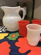 Kool Aid Man Vintage 2 Qt Pitcher And 3 Matching Drink Cups 2 Red 1 White
