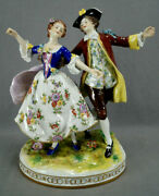 Volkstedt Hand Painted Georgian Colonial Courting Couple 11 3/4 Figurine Group