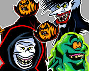 Real Ghostbusters Sandman, The Boogieman, Slimer And Samhain Sticker And Pin Set