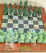 Chess Board Wood Vintage Handmade Carved Stone Player Made In China 1940and039s