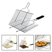 Folding Bbq Barbecue Grill Basket With Handle For Grilling Fish Steak Picnic