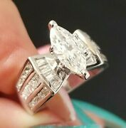 1.80tcw Marquise Solitaire Square Round Diamond 18k White Gold Ring