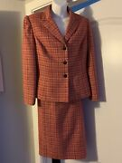 Le Suit Women 2pc Red Orange Twill Lined Single Breasted Skirt Suit Size 8p
