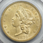 1873 S 20 Liberty Head Gold Coin Closed 3 Pcgs Au50 Au Old Green Holder