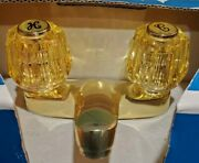 Vintage Sears Lavatory Faucet Bathroom Sink And Drain Brass Amber Knobs 20122 New