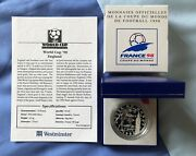 1997 France Football World Cup 98 10 Franc Silver Proof Coin, England.