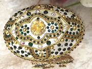 Faberge Egg Jewelry Box+faberge Necklace +emerald Bracelet 24k Gold Gift For Her