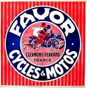 Original Vintage Poster Favor French Bicycles And Motor Cycles C.1930