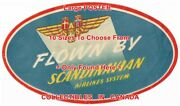 Scandanavian Airlines 1940and039s Flown By Sas =luggage Label Poster 6 Sizes 14-6 Ft