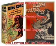 King Kong 1932 1st Ed. = Book And 50and039s Argentina Movie Poster 10 Sizes 14-4.5 Ft