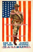 Wwi 1918 Soldier U.s. Marine American Flag = Poster 10 Sizes 18 - 4.5 Feet