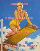 Diving Board 1950 Bathing Suit Sexy = Poster Artwork 10 Sizes 18-4 1/2 Feet