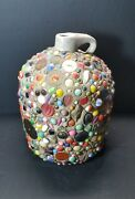 Vintage Folk Art Handled Stoneware Memory Jug With Marbles 10 Tall And 17.65 Lbs