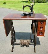 Antique 1880and039s Wilcox Gibbs Treadle Sewing Machine Wood And Cast Iron Base