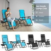3pcs Folding Zero Gravity Lounge Chairs Beach Patio Outdoor Recliner With Tray