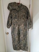 Vtg L Short Rq345s Quilt Winter Coverall Duck Canvas Frog Camo Usa Rare