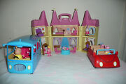 Peppa Pig Toy Lot 26 Figurines And School Bus-lights And Sound Car-princess Castle