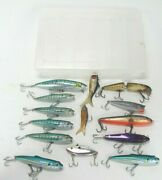 Vintage Fishing Lures Lot + Tackle Box Bass Pro Shops Xps Plueger Palomine Wood