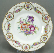 Dresden Hand Painted Floral And Gold Garlands 9 3/4 Inch Dinner Plate B