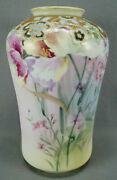 Nippon Morimura Hand Painted Pink Floral And Raised Gold Floral 10 1/4 Inch Vase