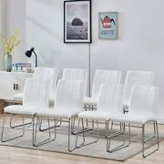 Set Of 8 Dining Chair Bedroom Kitchen Dinette Room Pu Leather Backrest Chairs