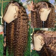 Ombre Lace Front Human Hair Wig Curly Brazilian Remy For Black Women Highlight