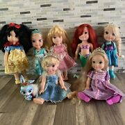 Lot Of 7 Disney Toddler Princess Dolls 13 And 14 Arielrapunzelsnow White+more