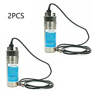 12v Dc 3.2gpm Stainless Shell Submersible Deep Well Water Pump Solar Battery 2x