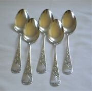 Set Of 5 Antique Whiting Lily Engraved Sterling Silver Teaspoons Ca. 1882
