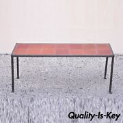 19th C French Arts And Crafts Hand Wrought Iron Coffee Table With Terracotta Tiles