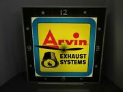 Vintage Arvin Muffler Lighted Clock Sign Dualite Products Clock