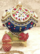Russian Imperial Faberge Egg Jewelry Box Musical Faberge Necklace And Bracelet 24k