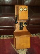 Early 1900and039s Antique Telephone Hand Crank Double Box Phone Brass Receiver