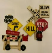 Vintage Burwood Products Railroad Highway Signs Wall Art Plaques Set Of 2 1973
