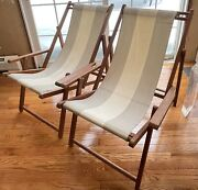 Two Mid-century Modern Folding Adjustable Wooden Canvas Beach Lounge Chairs