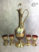 1960s Ruby Murano Glass Decanter Set With Four Wine Glasses 24k Gold Leaf