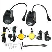 Pair Of Universal Motorcycle Led Driving Lamp Fog Lights With Dynamic Turn Sign