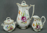 Ahrenfeldt Dresden Style Hand Painted Floral And Gold Chocolate Pot Set C1886-1910